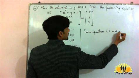 Find the values of x, y and z from the following equations